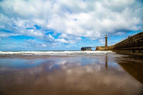 ramus, kranto, kontrastas, uostas, kraštovaizdis, švyturys, niekas, Šiaurė, vandenynas, prieplauka, atvirukas, vaizdingas, jūra, jūros dugnas, pajūryje, dangus, turizmas, ramus, ramybė, šiluma, Whitby, Jorkšyras, pajūryje