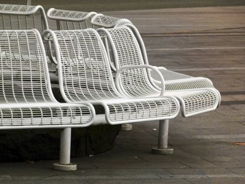 white metal bench