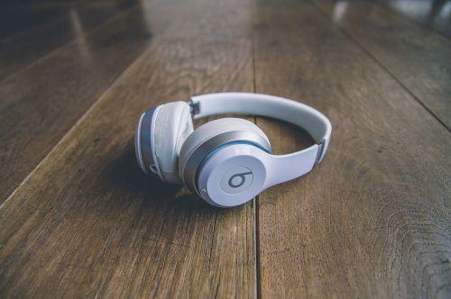 white headphones headset