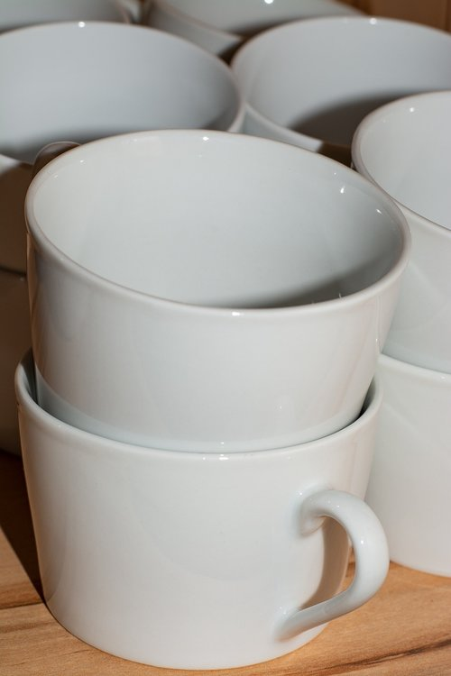 white  coffee mugs  stack