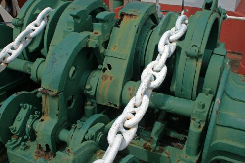 White Chains On Deck Of Tug