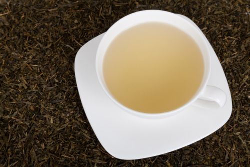 White Cup Of A Green Tea