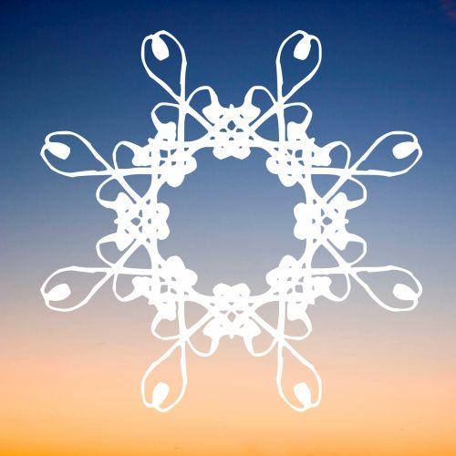 balta, filigranas, snaigė, saulėlydis, fonas, žiema, simetriškas, piešimas, modelis, sniegas, linksma, Kalėdos, šaltas, ledas, kristalas, baltos, trapios snaigės