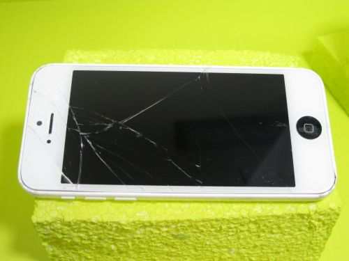 White IPhone, Shattered Screen.