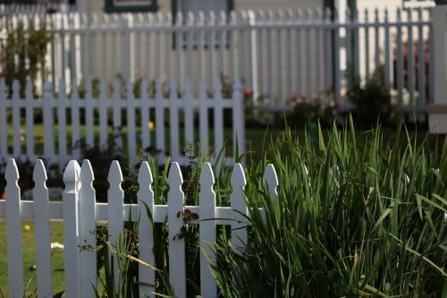 white picket fence yard outdoor