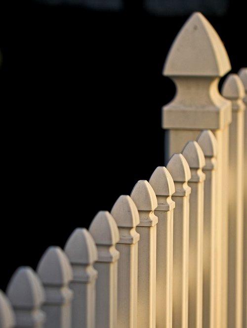 white picket fence  yard  slats