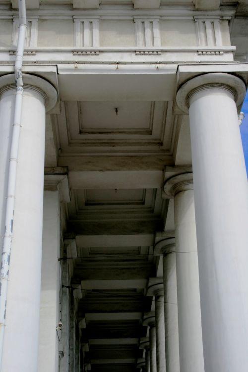 White Pillars Of Historic Building