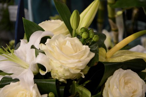 white rose purity floral composition