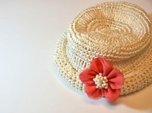 White Straw Pink Flower Hat