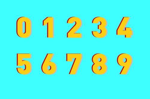 sveikas, numeriai, fonas, suskaičiuoti, nulis, sveikieji skaičiai, Matematika, mokytis, teigiamas, 0 & nbsp, - & nbsp, 9, dvigubas, šešėlis, 3-d, sveiki skaičiai su dvigubu šešėliu
