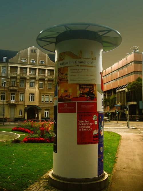 wih advertising pillar posters
