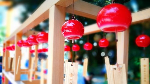 wind chimes  shrine  japan
