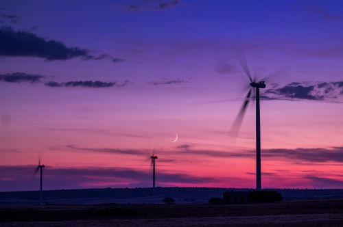 wind farm wind sunset
