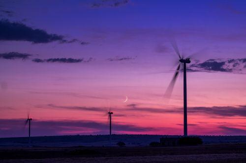 wind farm wind sunset