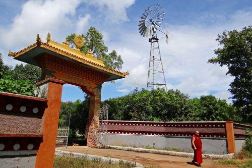 wind mill wind power tibetan settlement