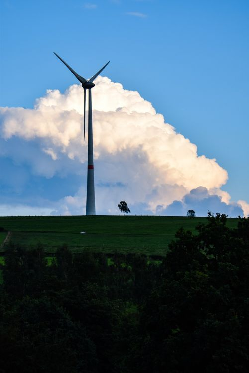 wind mill clouds green power