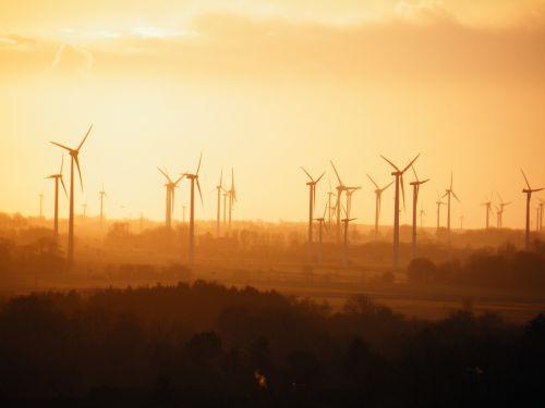 wind power plants fog sun