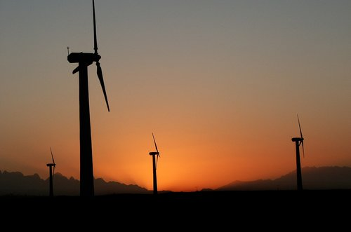 wind turbine  twilight  sky