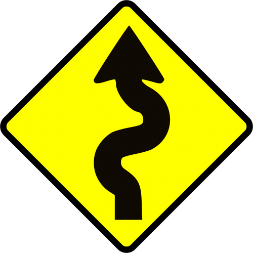 winding road caution
