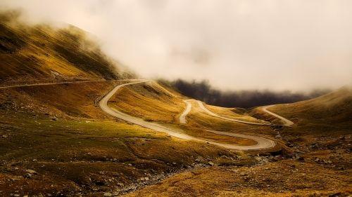 winding road twisting sunrise