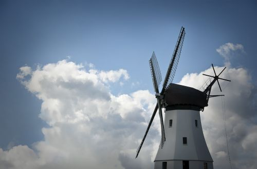windmill clouds sky