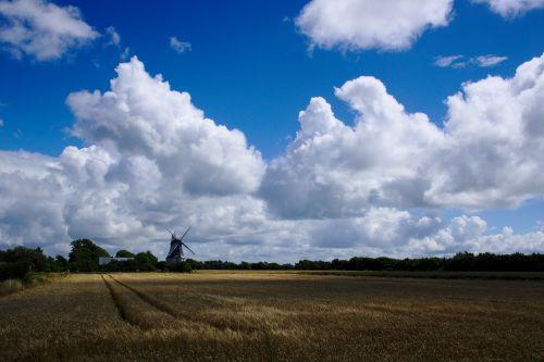 vėjo malūnas,dangus,debesis,cumulus,laukai,Žemdirbystė,kraštovaizdis