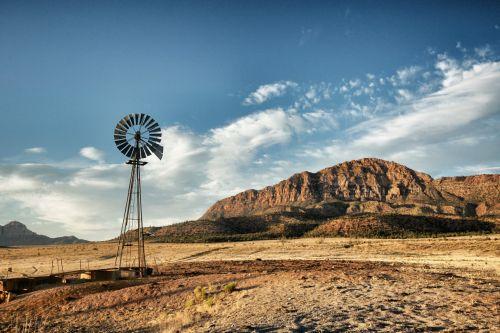 Windmill Over Desert Ranch