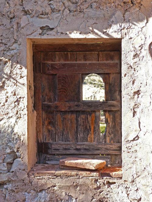window abandoned ruin