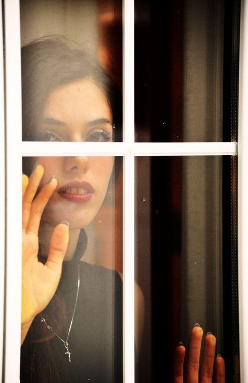 window girl look
