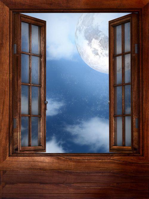 window moon open window