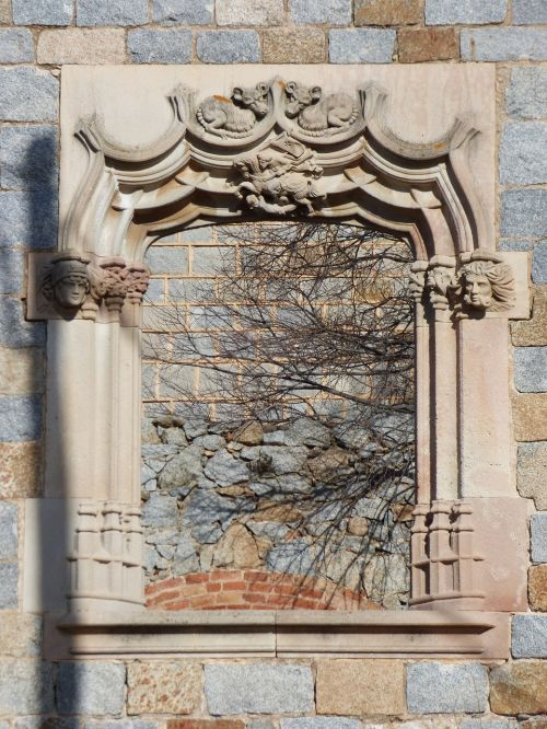window medieval carved stone