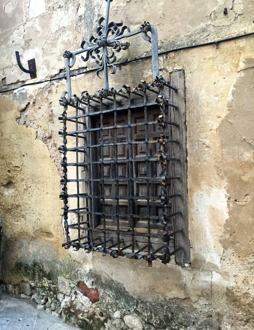 window old facade grate old