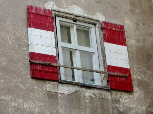 window shutter red