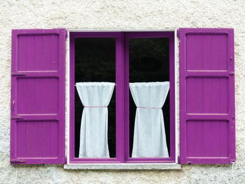 Window Purple Wood Shutters