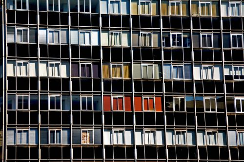 windows many building architecture