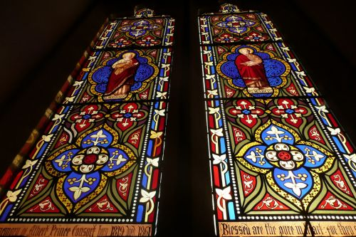 langai, bažnyčia, stiklas, mozaika, raudona, mėlynas, langai bažnyčioje