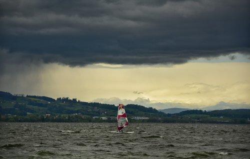 windsurfer  lake  water sports