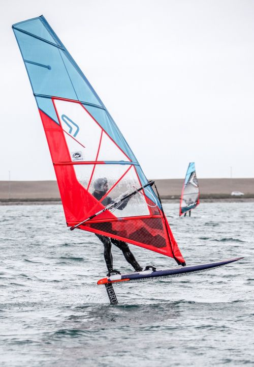 windsurfing foiling water