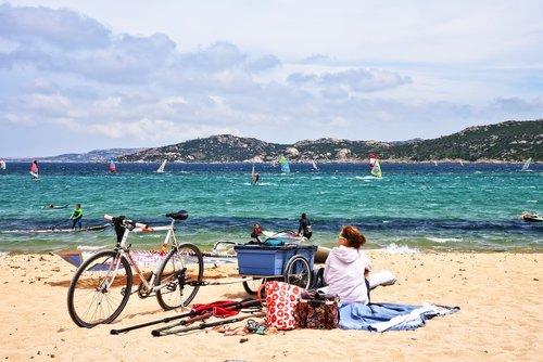 windsurfing  sea  beach