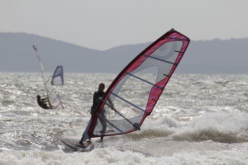 windsurfing sea waves