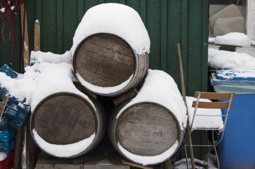 wine barrels oak barrels snow