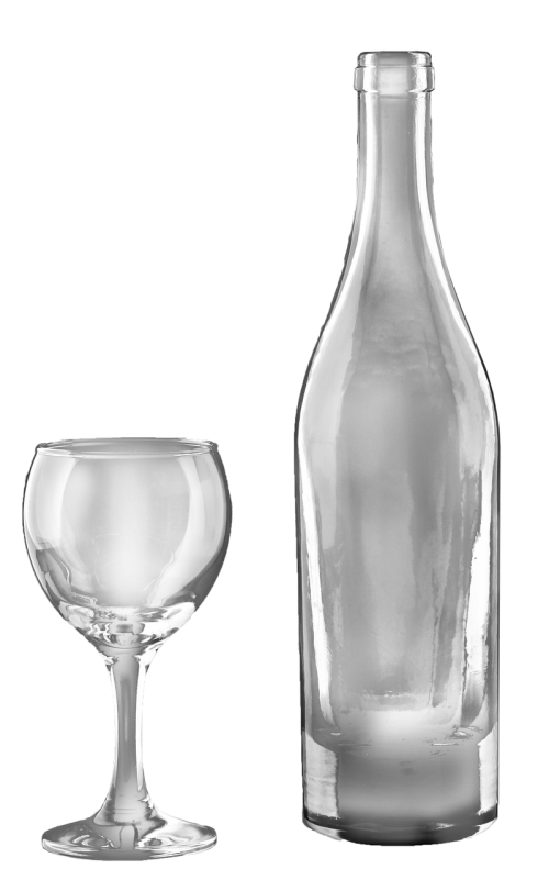 wine bottle and glass transparent isolated drink