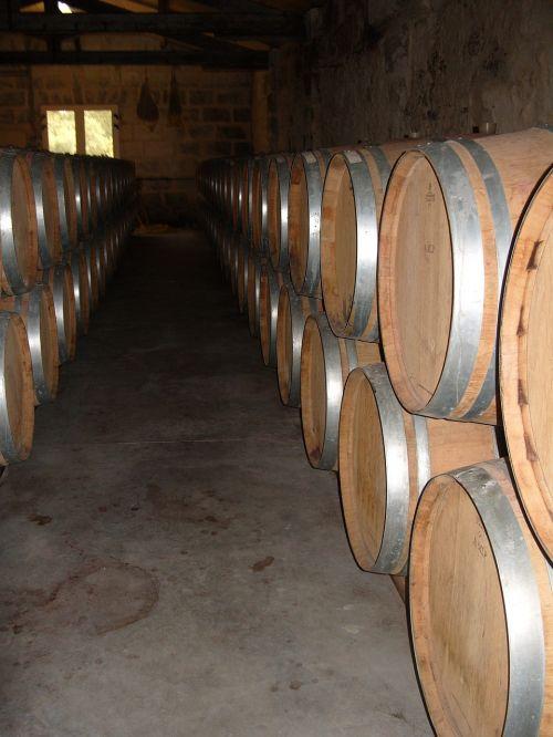 wine cellar barrels cask