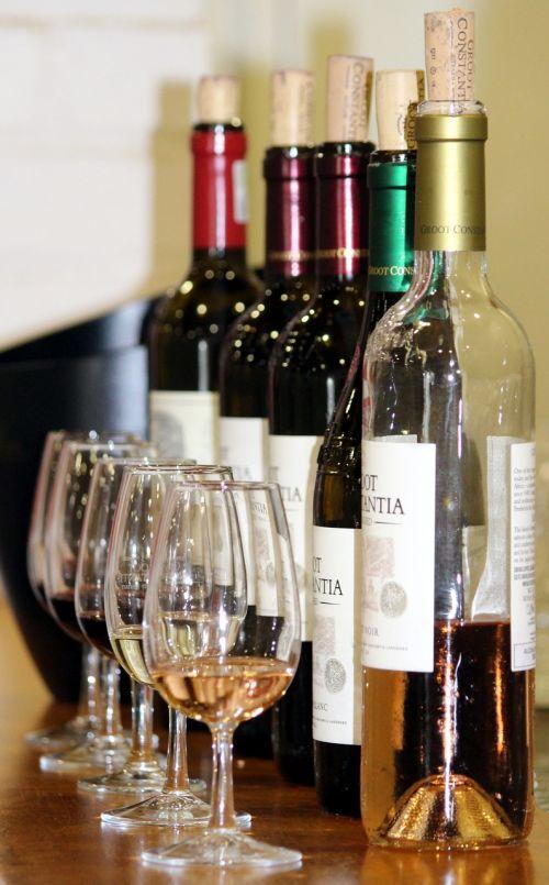 wine tasting glasses wine bottles