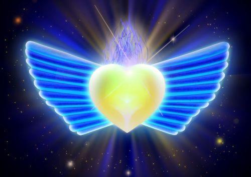 wings blue heart
