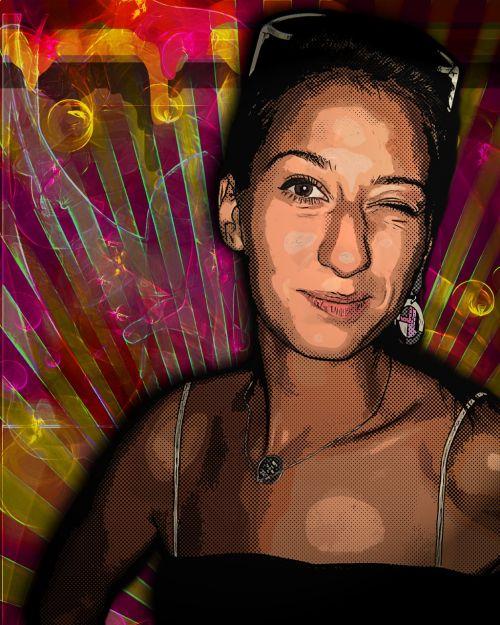 wink pop art woman