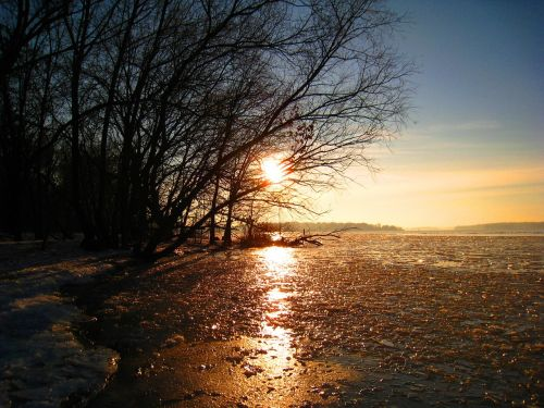 winter frozen lake ice