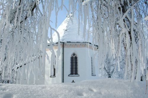 winter hoarfrost church