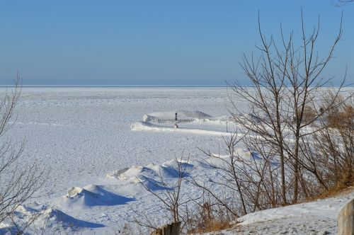 winter shoreline snow