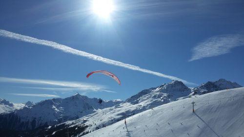 winter snow paraglider